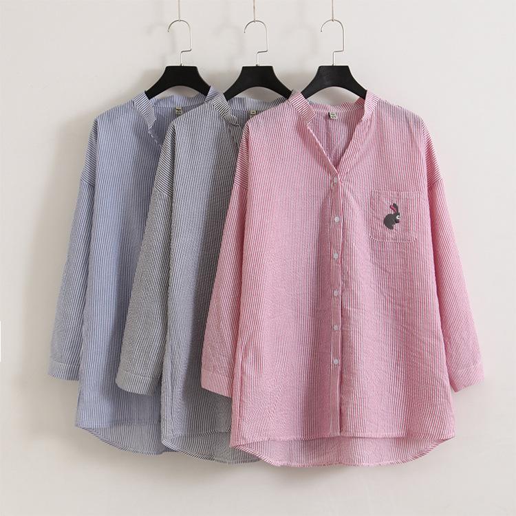 [해외]여성용 대형 줄무늬 긴 셔츠/Women&s large size striped long shirt
