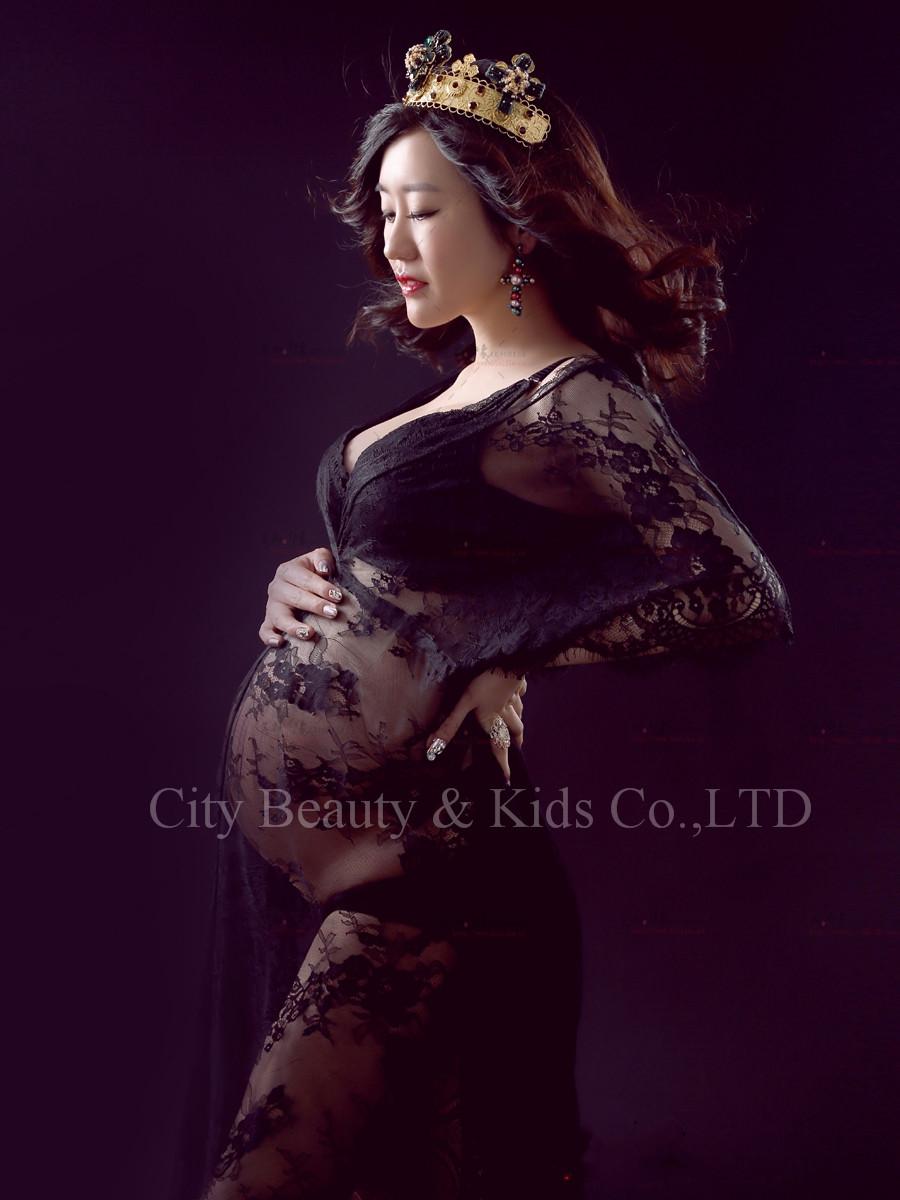 [해외]임신 한 여성을2016 새로운 퀸 스타일 블랙 레이스 출산 투명한 맥시 드레스 사진 소품 비치 드레스 스튜디오 의류/2016 New Queen Style  Black Lace Maternity Transparent Maxi Dress Photo Props Bea