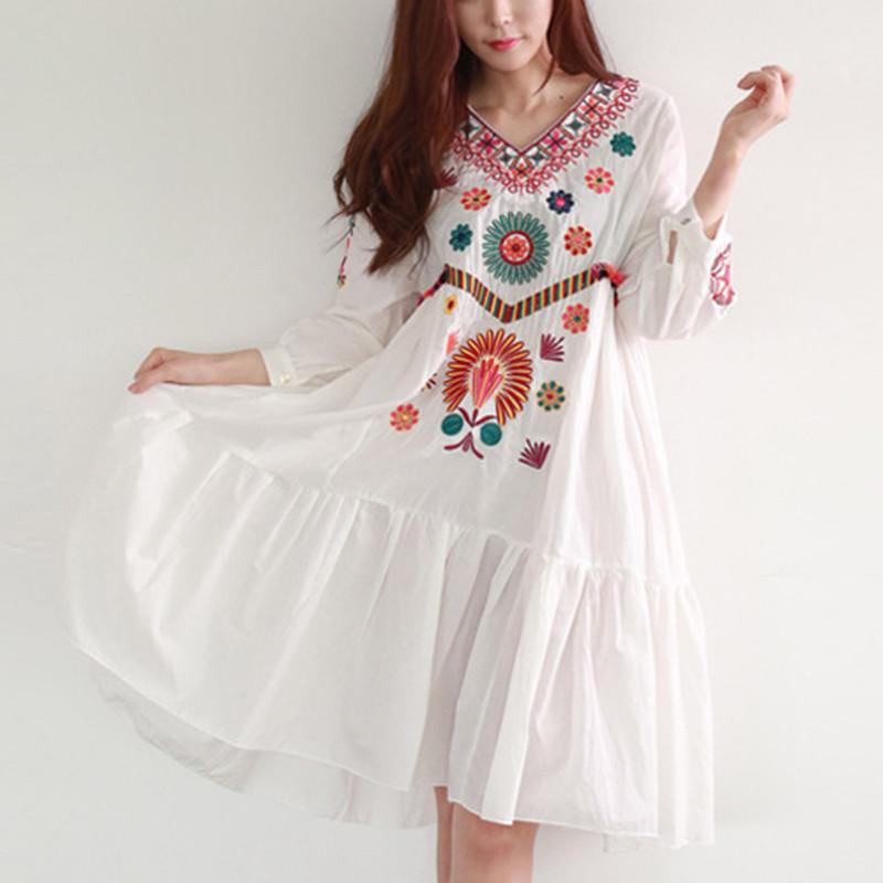 [해외]보헤미안 자수 출산 드레스 2016 여름 패션 면화 출산 드레스 여성 임신 옷/Bohemian embroidery maternity dress 2016 summer fashion cotton maternity dress women pregnancy clothes