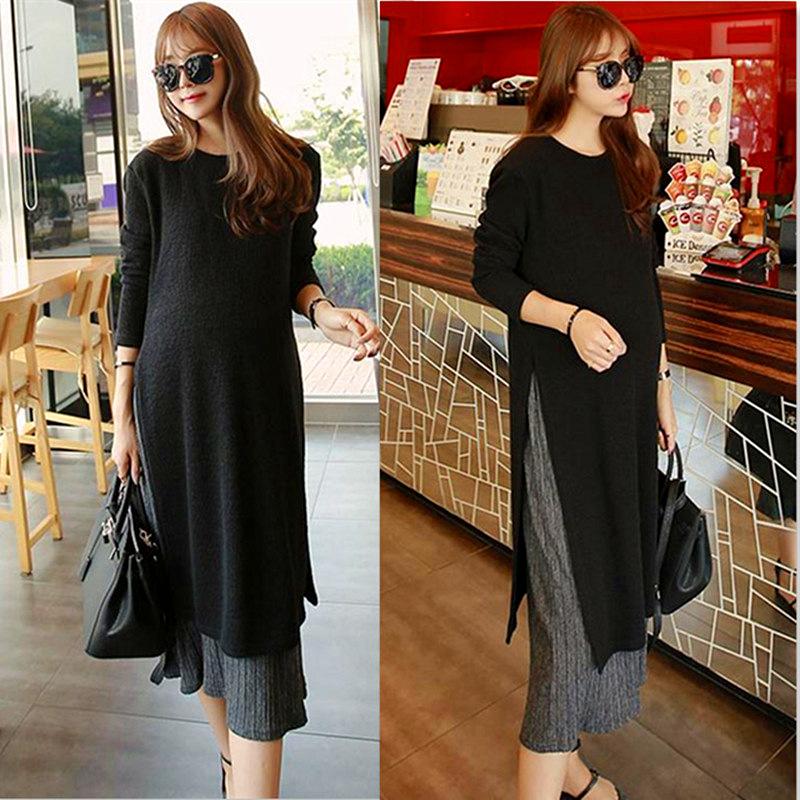 [해외]출산 옷감 가짜 두 조각 100 % 코튼 드레스 긴 Retail 발목 길이의 임신 라운드 넥 드레스 임신 한 여성 B50 10/Maternity Clothings Fake Two Piece 100% Cotton Dress Long Sleeve Ankle-Leng