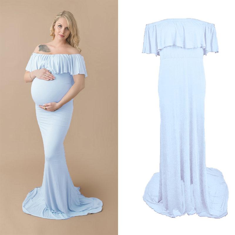 [해외]임신 한 여성 및 코 튼 드레스 맥시 드레스 출산 Bodycon 드레스 여성 임신 한 멋진 사진 소품 Vestidos 웨딩 드레스/Pregnant Women&s Cotten Gown Maxi Dress Maternity Bodycon Dress Women Pre