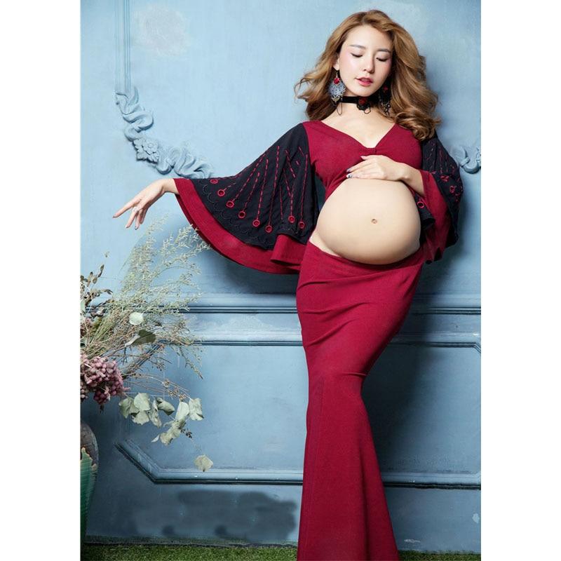 [해외]자궁 출산 드레스 사진 촬영 드레스 출산 사진 소품 임신 한 여성을옷 임신 한 드레스/Embroidery Maternity Dresses For Photo Shoot Dresses Maternity Photography Props Clothes For Pregn