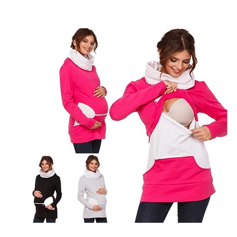 [해외]플러스 사이즈 임신 간호 용품 긴팔 모자 의류 임신중인 여성을모유 수유 의류 패치 워크 T 셔츠/Plus Size Pregnancy Nursing Long Sleeves Maternity Clothes  Breastfeeding Tops Patchwork T-s