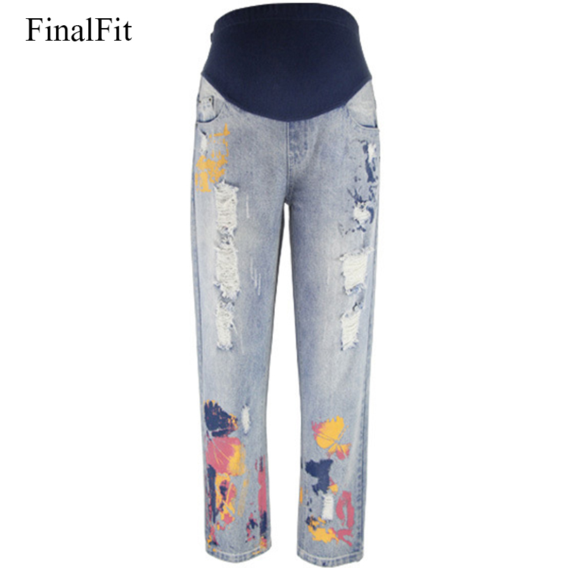 [해외]임신 한 여성을FinalFit 출산 청바지 블루 코튼 홀 긴 임신 청바지/FinalFit Maternity Jeans for Pregnant Women Blue Cotton Hole Long  Pregnancy Jeans Jeans