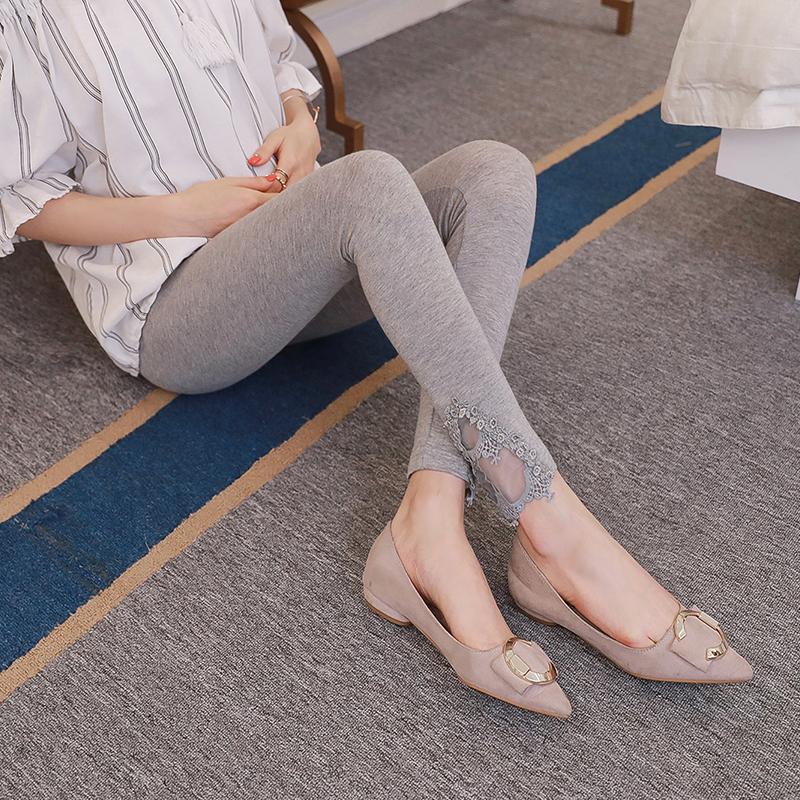 [해외]Pengpious 한국식 임신 한 여자 가을 전체 길이 레깅스 탄성 뻗어 제국 스키니 면화 패치 워크 레이스 바지/Pengpious Korean style pregnant women autumn full length leggings elastic stretche