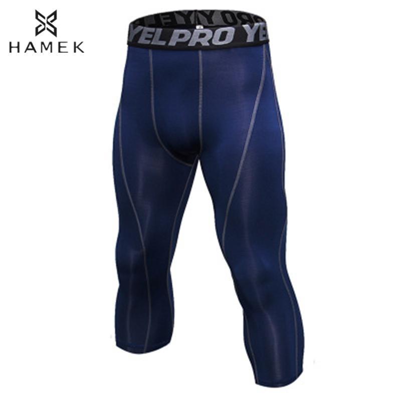 [해외]남성 3/4 압축 달리기 스타킹 스포츠 스킨 러닝 팬츠 피트니스 체육관 요가 농구 훈련 꽉 운동 레깅스/Men 3/4 Compression Running Tights Sports Skins Running Pants Fitness Gym Yoga Basketbal