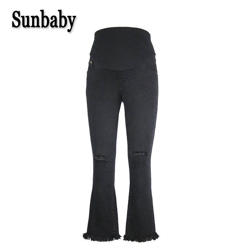 [해외]Sunbaby 거리 유행 구멍 임신 한 여자 임신 캐주얼 청바지에 대 한 피곤 스키니 벨 하단 출산 바지/Sunbaby Street Fashion Hole Distrressed Skinny bell-bottom maternity trousers for pregn