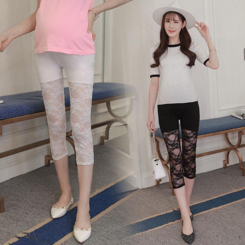 [해외]Pengpious 임산부 & s 복부 모달 접합 레이스 capris 바지 출산 여름 얇은 뻗어 스키니 블랙 / whiteleggings/Pengpious pregnant woman&s abdomen modal splicing lace capris pant