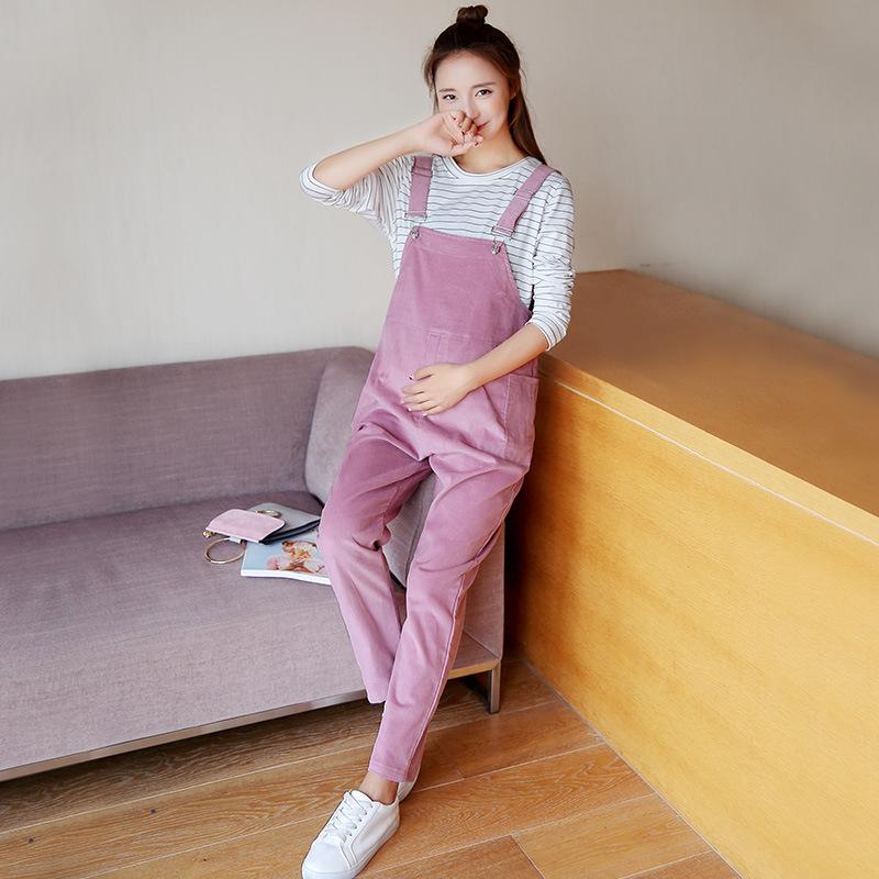 [해외]오버올 여성용 복부 팬츠 점프 슈트 코듀로이 바지, 임산부 봄, 가을 바지/Overalls Korean Women Abdominal Pants Jumpsuit Corduroy Trousers for Pregnant Women Spring and Autumn Pa