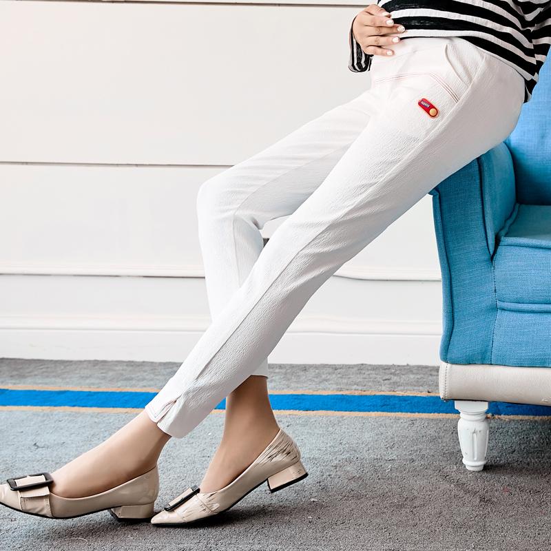 [해외]가을 복장은 임신 한 여자 레저 바지 9 분 바지, 흰색 큰 야드 복부 바지를 입고 qualit을 입고/Autumn outfit make pregnant women leisure trousers nine minutes of pants, white big yard