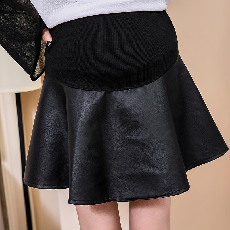 [해외]Pengpious 임산부 & s 더하기 크기 PU 가죽 배꼽 치마 울트라 짧은 우산 치마 모자 - 라인 가짜 가죽 스커트 좋은/Pengpious pregnant woman&s plus size PU leather belly skirt ultra short