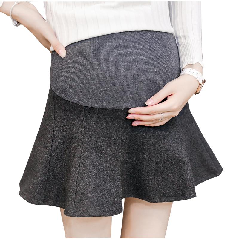 [해외]Pengpious 출산 2018 봄과 가을 겨울 높은 허리 스커트 플러스 사이즈 임산부 배꼽 스커트 모직 우아한 스커트/Pengpious Maternity 2018 spring and autumn winter high waist skirts plus size p