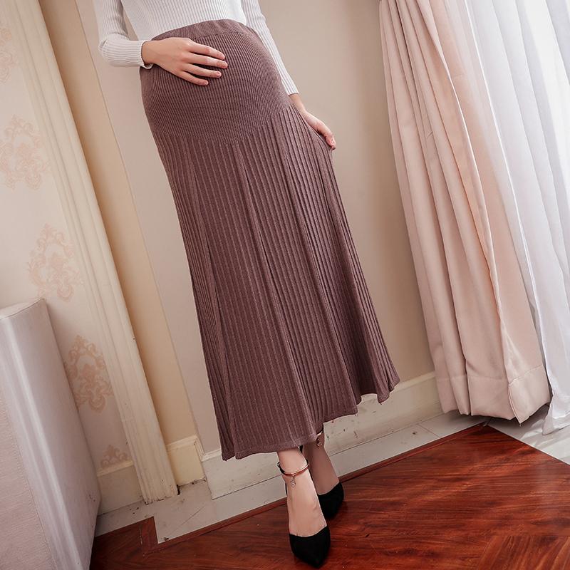 [해외]가을 겨울 스타일 임산부 니트 치마 하이 웨스트 벨벳 플리츠 스커트 여성 출산 드레스 우아한 파티 스커트/Autumn Winter Style Pregnant Women Knitted Skirt High Waist Velour Pleated Skirt Female