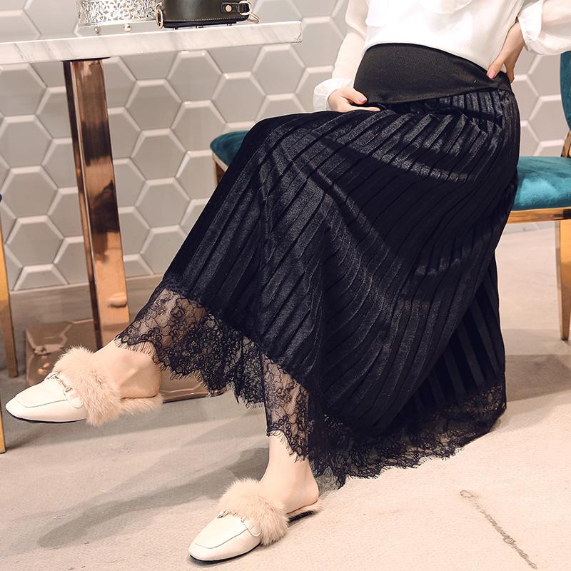 [해외]2302 레이스 패치 워크 Pleated 출산 스커트 탄력 허리 배꼽 스커트 임신 여성을옷 2018 봄 임신 치마/2302 Lace Patchwork Pleated Maternity Skirts Elastic Waist Belly Skirts Clothes fo