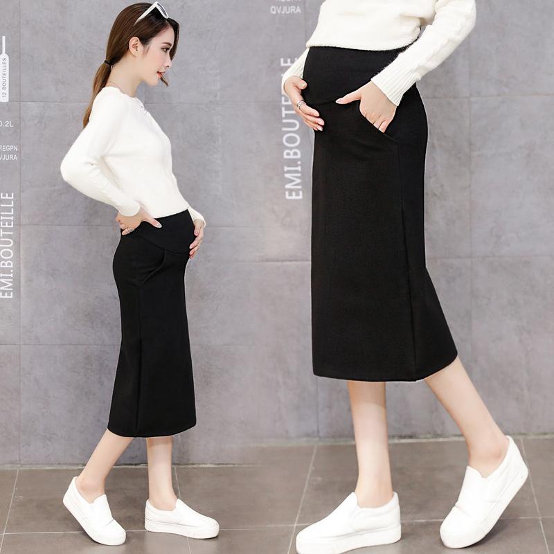 [해외]긴 단계 한국어 조수 어머니 임신 배꼽 치마에 새로운 출산 드레스 봄 모직 모직 스커트/The new maternity dress spring woolen woolen skirt in the long paragraph Korean tide mother pregn