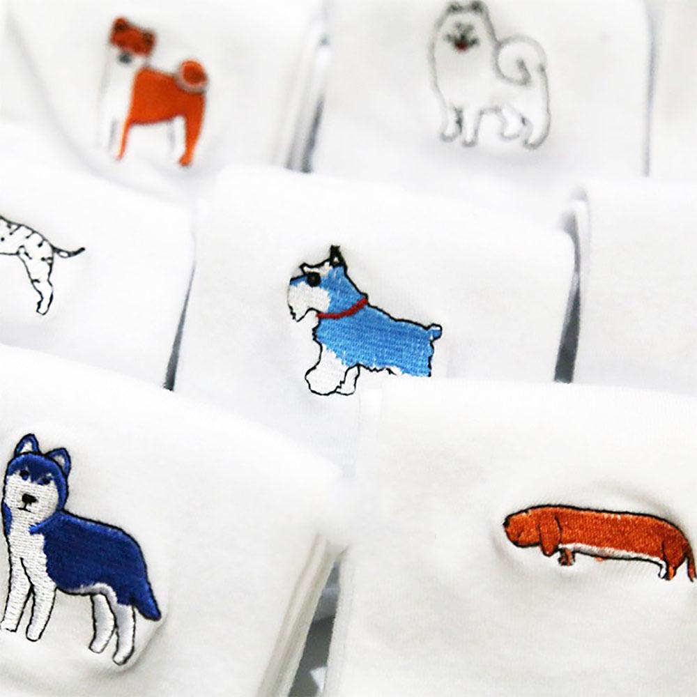 [해외]사랑스러운 만화 개 자수 코튼 화이트 양말 커플 입체 자카드/Lovely Cartoon Dog Embroidery Cotton White Socks Couple Stereoscopic Jacquard