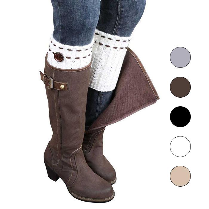[해외]여자 패션 겨울 다리 따뜻하게 단추 점선 라인 니트 부팅 양말/Women Fashion Winter Leg Warmers Button Dotted Line Crochet Knitted Boot Socks