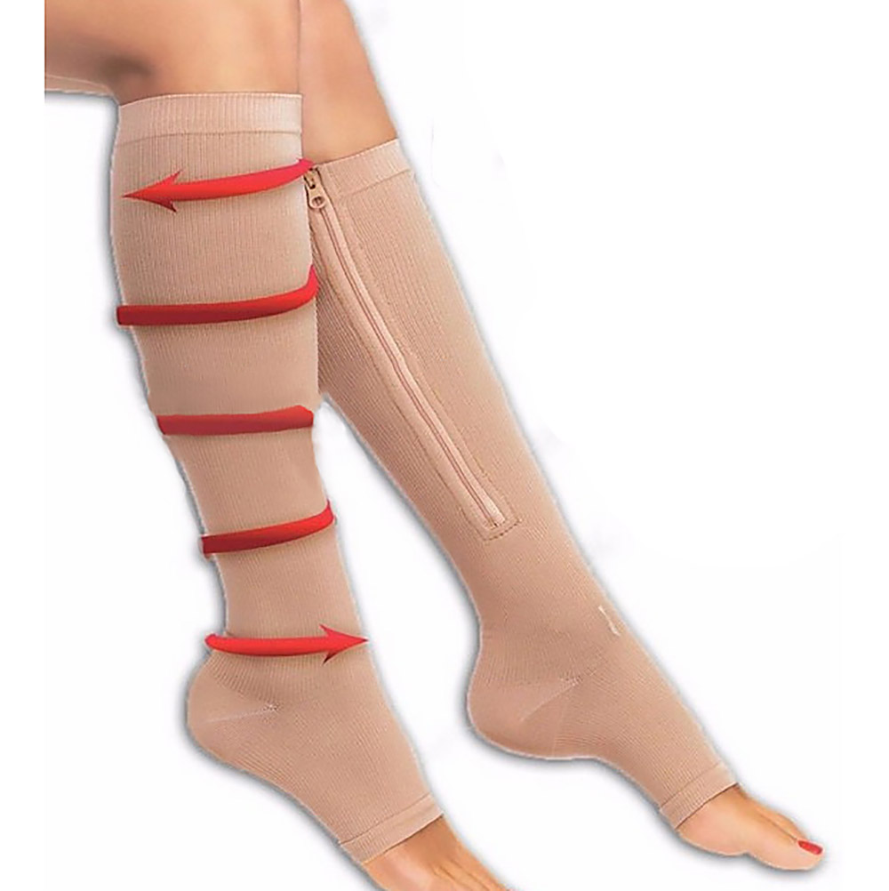 [해외]UniZippered 압축 통증 완화 다리 지원 무릎 양말 양말 열기 정면 S / L/UniZippered Compression Pain Relief Leg Support Knee Socks Sox Open Toe S/L