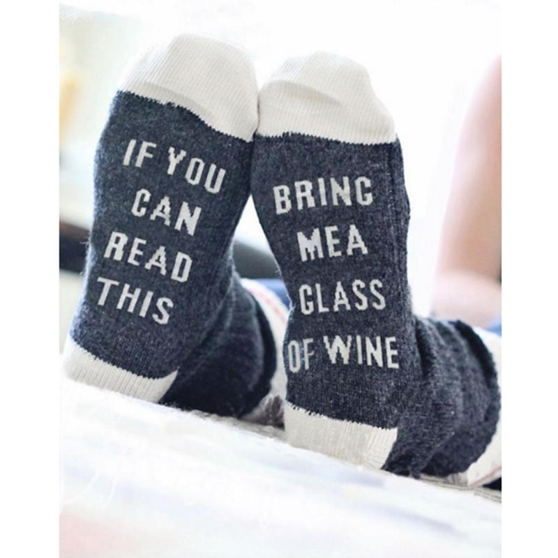 [해외]3pcs 유머 단어 재미있는 여성 양말 재미있는 만약 당신이 나에게 가져다 줄 수 와인 와인 커피 임신 한 여성을매혹적인 양말/3pcs Humor Words Amusing Female Socks Funny If You Can Read This Bring Me W