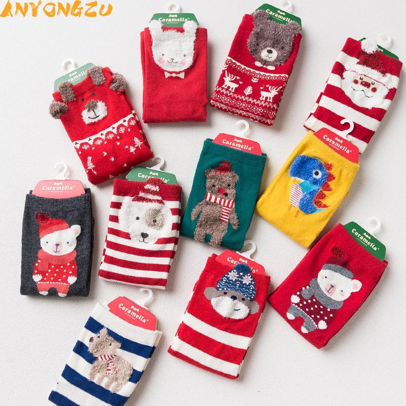 [해외]12 쌍 / 많이 Anyongzu 양말 가을과 겨울 레이디 양말 레드 만화 크리스마스 새해 순수 코튼 양말 (23cm 믹스/12pair/lot  Anyongzu Sock Autumn And Winter Lady Socks Red Cartoon Christmas