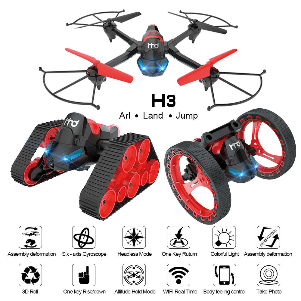 [해외]LIDI H3 셋 중 하나의 조립 변형 Wifi 제어 Drones0.3MP 카메라 Quadcopter 탱크 및 바운스 카 결합 RC 완구/LIDI H3 Three In One Assembly Deformation Wifi Control Drones0.3MP Ca