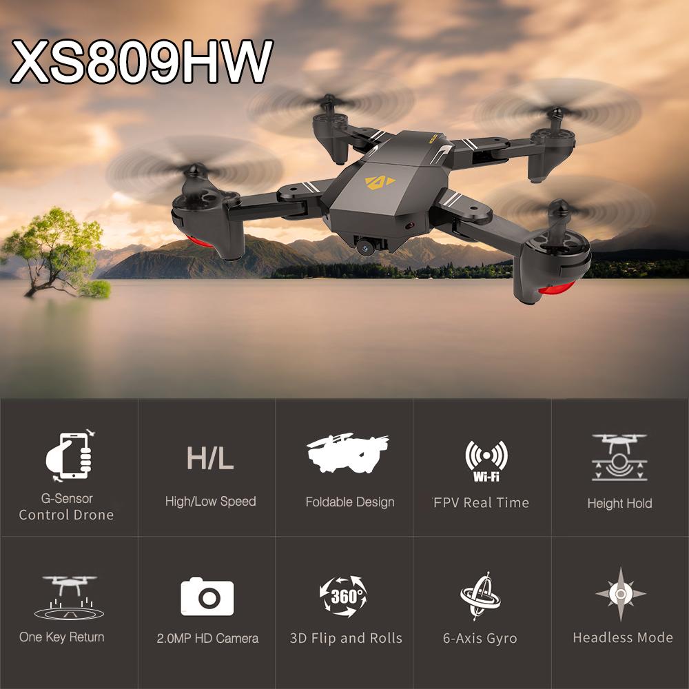 [해외]재고 있음 VISUO XS809HW Wifi FPV 2.0MP FOV 와이드 앵글 Foldable Selfie 드론 높이 보류 RC Quadcopter RTF HelicopterCamera/In Stock VISUO XS809HW Wifi FPV 2.0MP FO