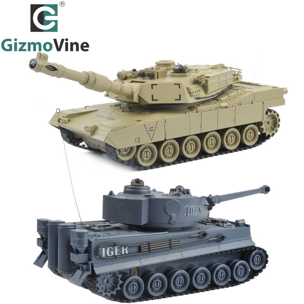 [해외]RC 탱크 2 PC / 세트 27Mhz 40Mhz 9CH RTR GE 타이거 103 대 미국 M1A2 원격 제어 파이팅 배틀 탱크 Musical 및 깜박임/RC Tank 2 pcs/set 27Mhz 40Mhz 9CH RTR GE Tiger 103 VS US M1