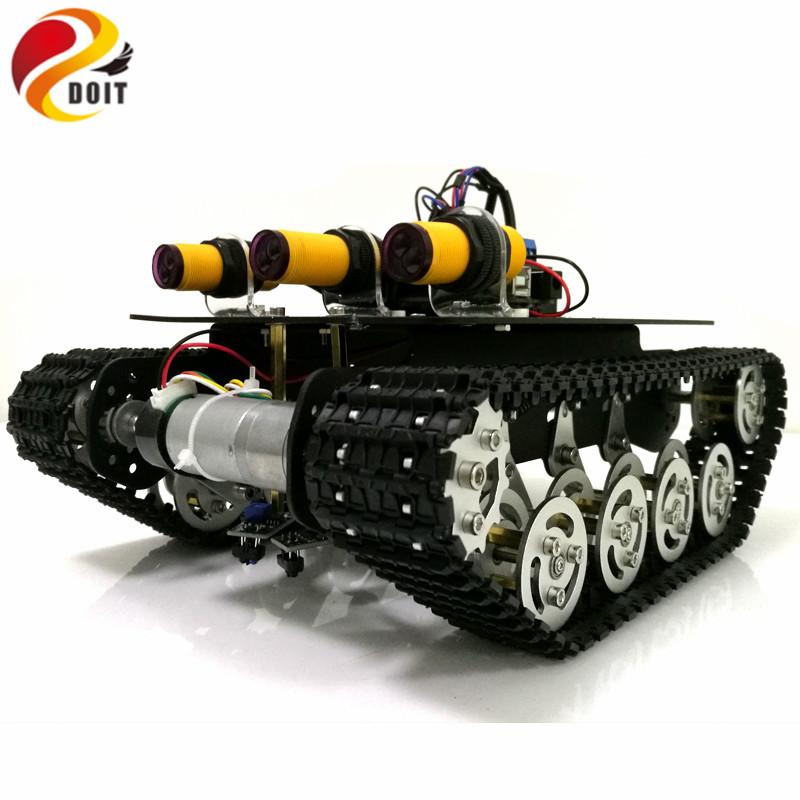 [해외]DOIT 추적 장애물 회피 로봇 탱크 섀시 Arduino UNO R3 보드 + 모터 드라이브 보드 + IR 장애물 센서 (APP 전화 별)/DOIT Tracking Obstacle Avoidance Robot Tank ChassisArduino UNO R3 Bo