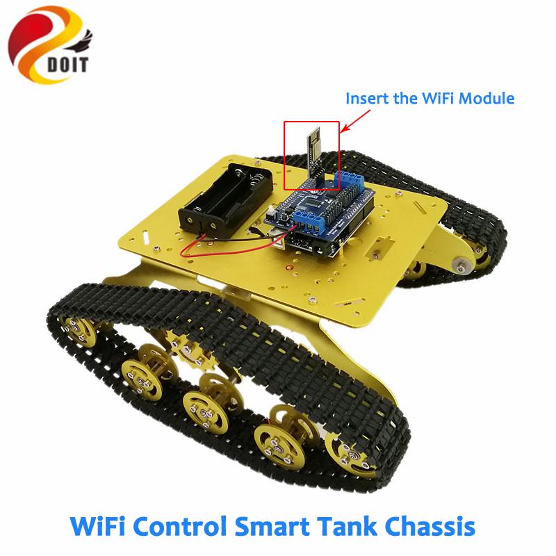 [해외]도트 TS300 충격 흡수기 탱크 섀시 DT-06 WiFi 모듈 + Arduino 개발 보드 + 모터 드라이버 보드 키트 DIY RC Toy/DOIT TS300 Shock Absorber Tank ChassisDT-06 WiFi Module+Arduino Dev