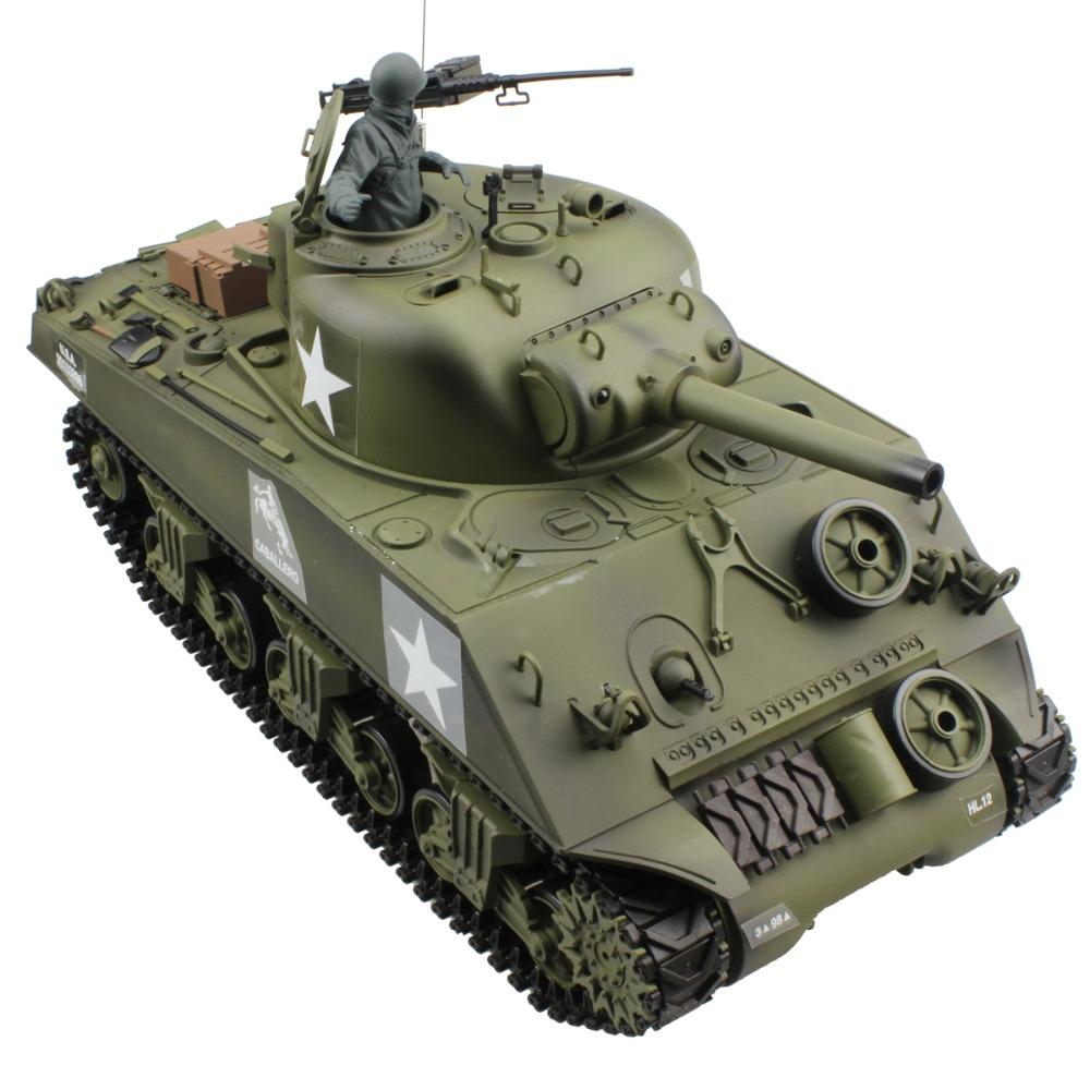 [해외]2.4G 1/16 US M4A3 Sherman 105mm 곡사포 전투 탱크 슈팅 연기가 나기 + 원격 제어 제 2 차 세계 대전 탱크 모델 선물 장난감 소리 울리기/2.4G 1/16 US M4A3 Sherman 105mm Howitzer Battle Tank S