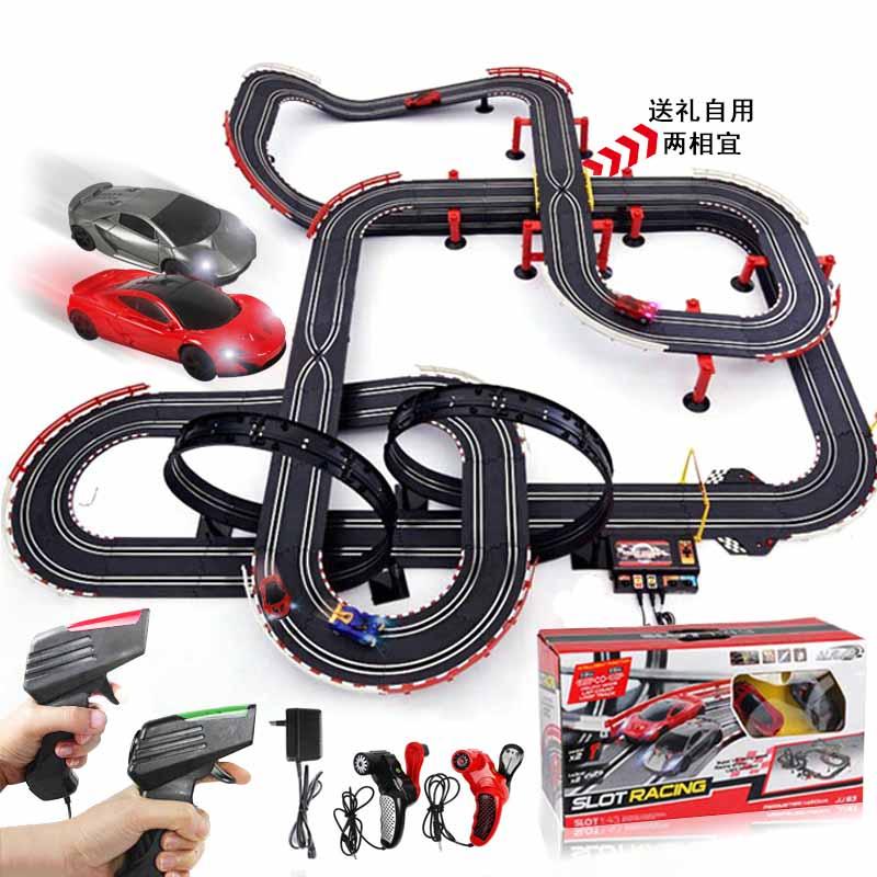 [해외]원격 제어 자동차 경주 트랙 더블 플레이 경주 전기 자동차 트랙 세트 키즈 전기 철도 기차 장난감/Remote Control Car Racing Tracks Double Play Race Electric Cars Track Set Kids Electric Rai