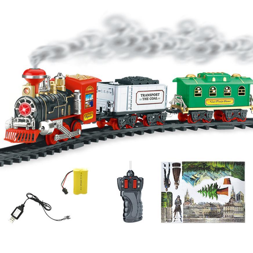 [해외]원격 제어 전송 자동차 전기 스팀 연기 RC 기차 세트 모델 원격 전기 제어 장난감 TX4 어린이선물/Remote Control Conveyance Car Electric Steam Smoke RC Train Set Model Remote Electric Con