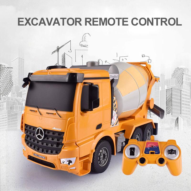 [해외]헬리콥터 1:26 원본 Rc 트럭 굴삭기 플래시 장난감 원격 제어 공학 믹서 트럭 모델 차량 완구/HELIWAY 1:26 Original Rc Truck Excavator Flash Toy Remote Control Engineering Mixer Truck M