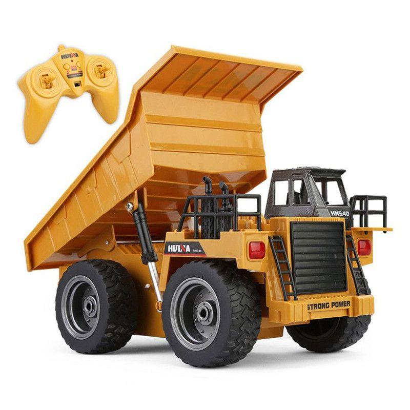[해외]1:18 2.4G RC 굴착 합금 6 채널 버기 원격 제어 광산 덤프 트럭 4 휠 아이들을현실적인 기계 선물/1:18 2.4G RC Excavate Alloy 6 Channel Buggy Remote Control Mine Dump Truck 4 Wheel Re
