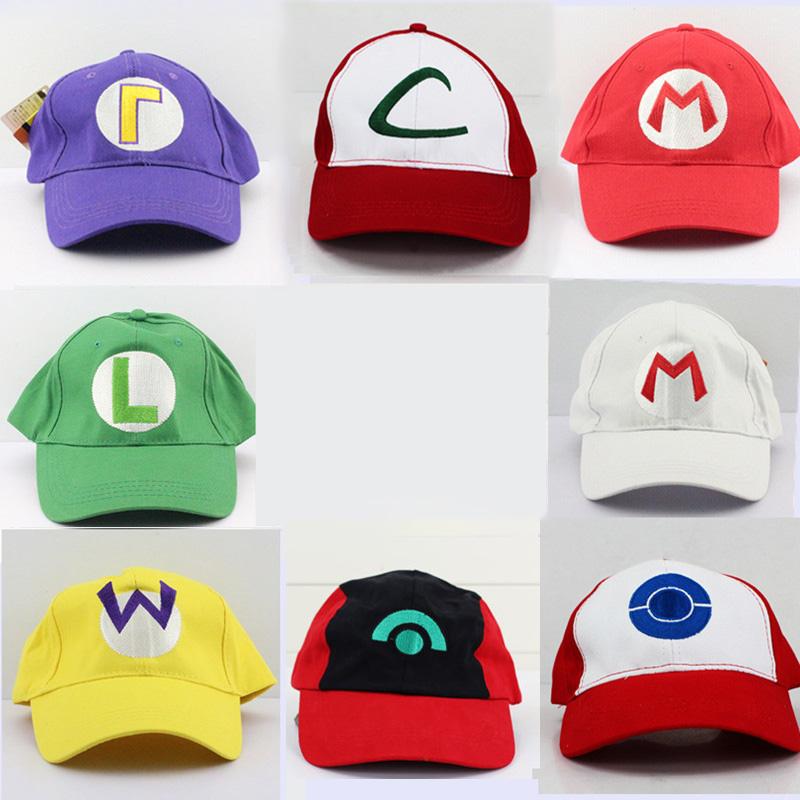 [해외]8 스타일 슈퍼 마리오 모자 Anime Ash Ketchum 마리오 루이기 Waluigi Cosplay Atdult 용 모자/8 Styles Super Mario Hat Anime Ash Ketchum Mario Luigi Waluigi Cosplay Hat C