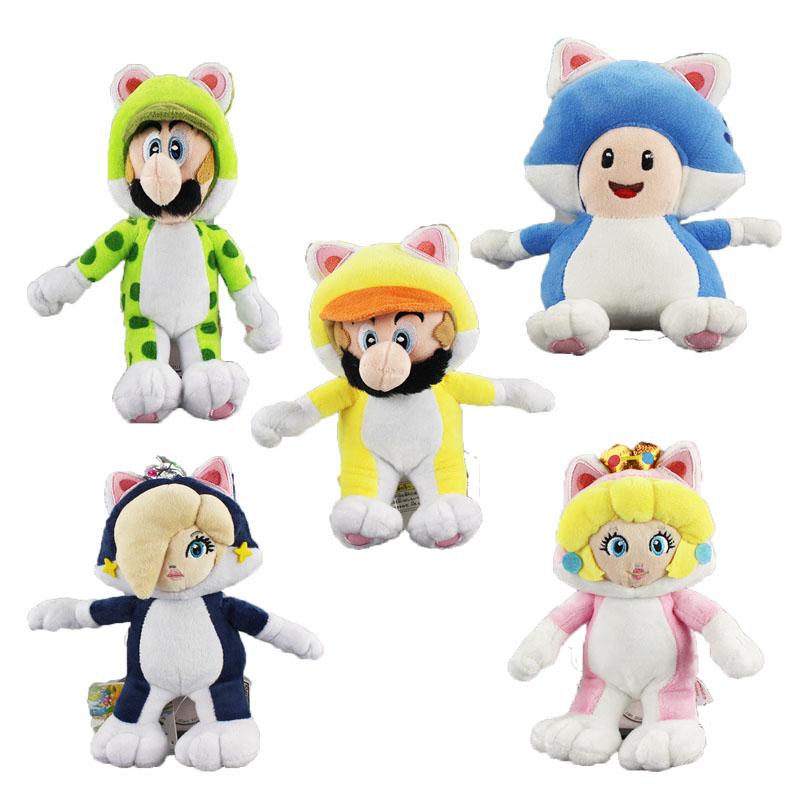 [해외]5 가지 스타일 / 세트 슈퍼 마리오 플러시 장난감 고양이 루이지 공주 & amp; Wario 슈퍼 마리오 브라더스 동물 플러시 완구 박제/5 Styles/Set Super Mario Plush Toy Cat Luigi Princess& Wario