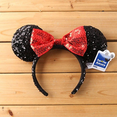 [해외]미니 마우스 레드 블랙 스팽글 머리띠 - 귀 옷 입 모자/Minnie Mouse Red Black Sequin Headband - Ears Costume Bow Hat
