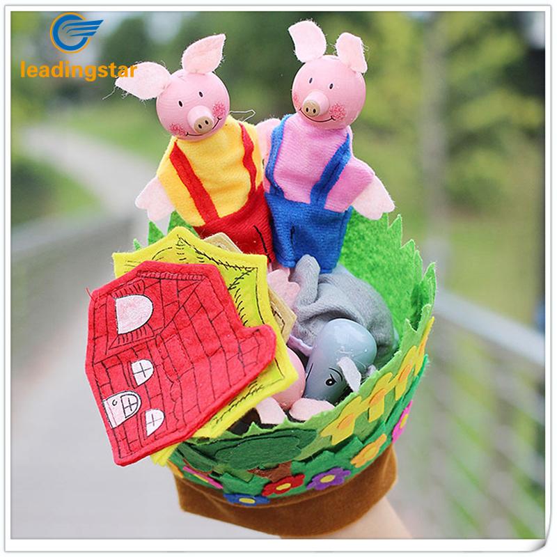 [해외]새로운 손 장갑 아기 봉제 인형 세 작은 돼지 교육 인형 손가락 키즈 학습 및 amp; 교육 완구 선물 zk40/New Hand Glove Baby Plush Toys Three Little Pigs Educational Puppets Finger Kids Le