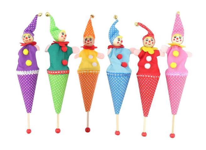 [해외]12pcs / lot 새로운 재미 있은 나무 장난감 21cm 긴 사랑스러운 광대 손가락 꼭두각시 키즈 러브 핸드 인형 인형 텔레스코픽 스틱 인형/12pcs/lot New Funny wooden Toys 21cm long Lovely clown finger Pup