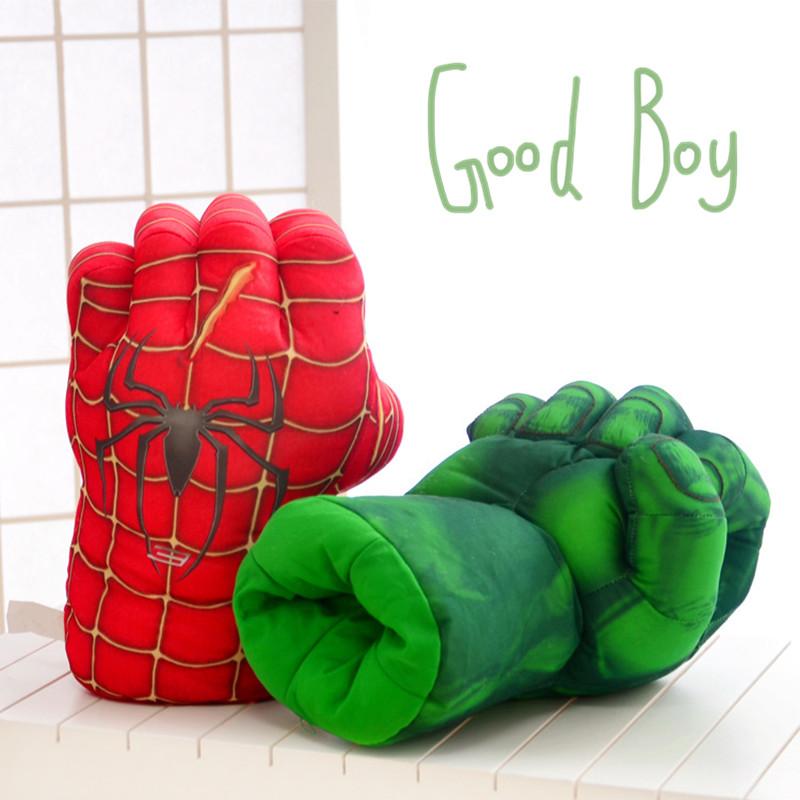 [해외]4 개의 애니메이션 장갑 플러시 장난감 녹색 자이언트와 스파이더 맨과 헐크와 철 남자 권투 글러브 어린이 장난감 생일 선물/Four animation gloves plush toys  green giant and Spider-Man and Hulk and Iro