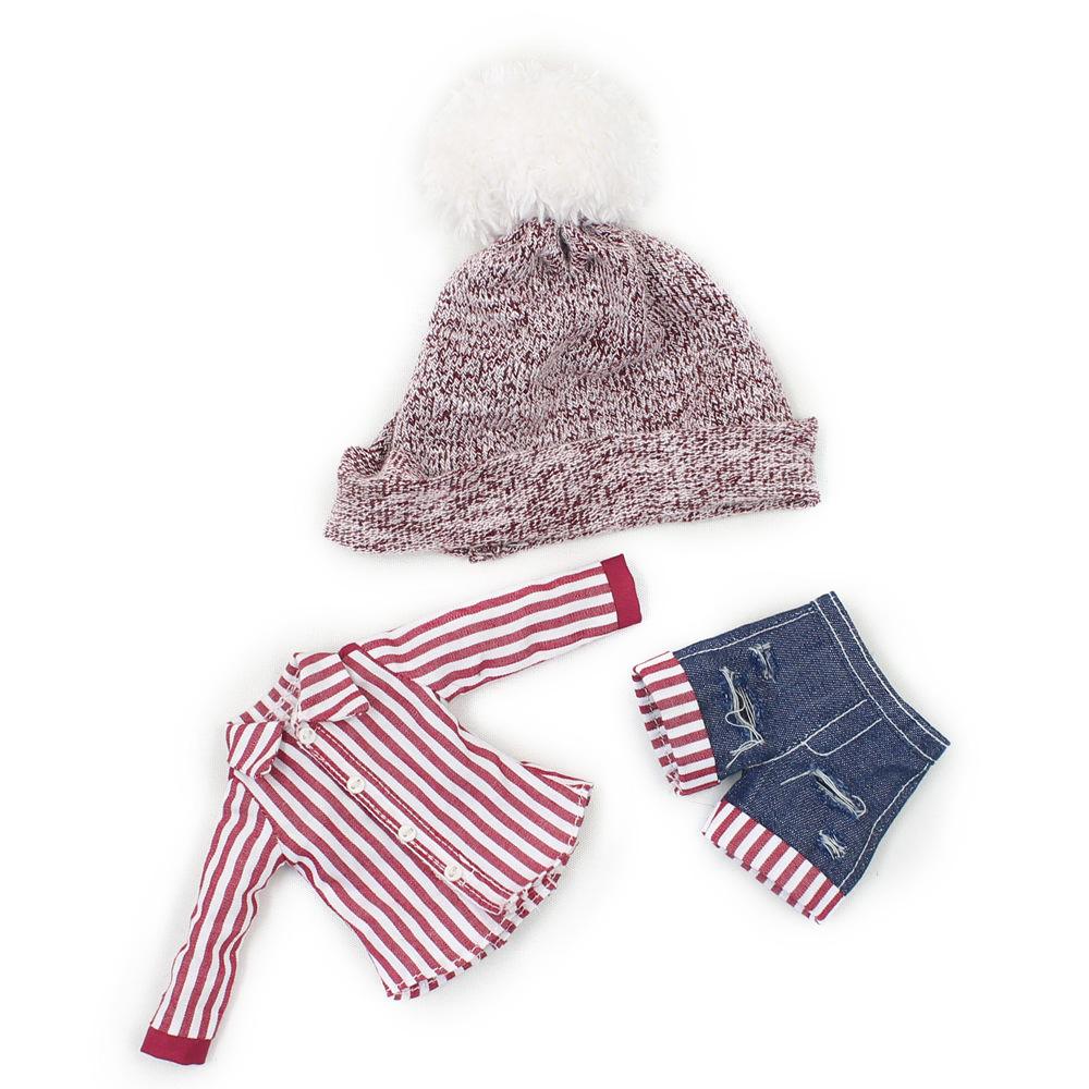 [해외]Blyth doll 와인 레드 스트 라이프 셔츠와 팬츠는 30cm 용 장난 꾸러기 1/6 인형/Blyth doll Wine red Stripe shirt and pantshat for 30cm 1/6 doll naughty and cute suit