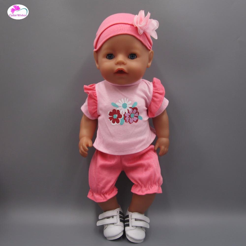 [해외]인형 용 옷 43cm Baby Born 자프 인형 핑크 T 셔츠 스커트 모자/Clothes for dolls fits 43cm Baby Born zapf doll Pink T-shirt skirt hat