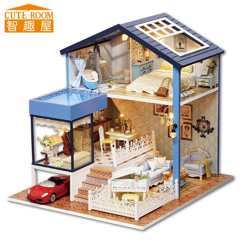 [해외]커트 룸 DIY 인형 집 미니어처 나무 인형 집 Miniaturas 가구 장난감 집 인형 장난감 크리스마스 및 생일 선물 A61/CUTE ROOM DIY Doll House Miniature Wooden Dollhouse Miniaturas Furniture T