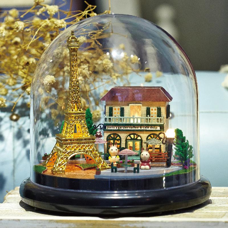 [해외]B018A DIY 인형 집 miniatura 미니 유리 볼 모델 건물 목조 미니어처 인형 집 장난감 로맨틱 파리/B018A DIY doll house miniatura mini glass ball model building Kits wooden Miniature