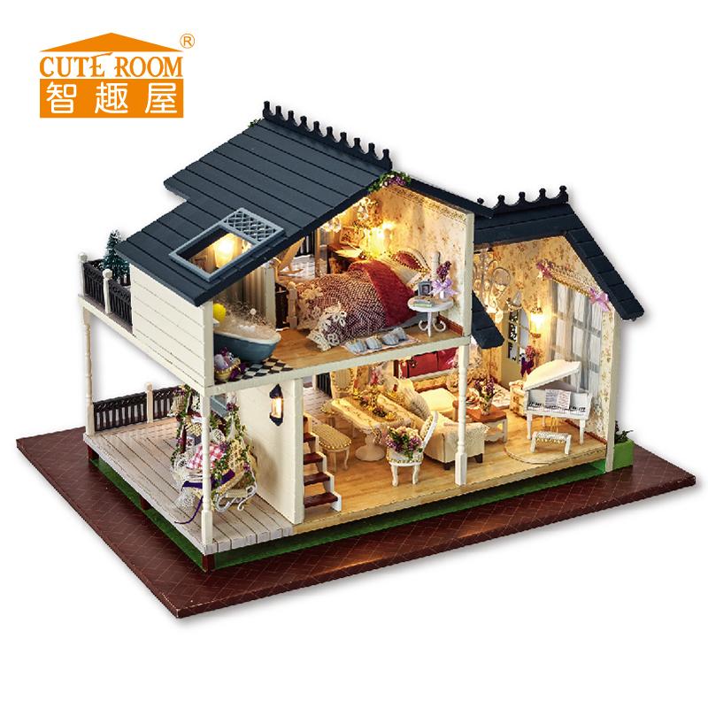 [해외]커트 룸 DIY 인형 집 미니어처 나무 인형 집 Miniaturas 가구 장난감 집 인형 장난감 크리스마스 및 생일 선물 A32/CUTE ROOM DIY Doll House Miniature Wooden Dollhouse Miniaturas Furniture T