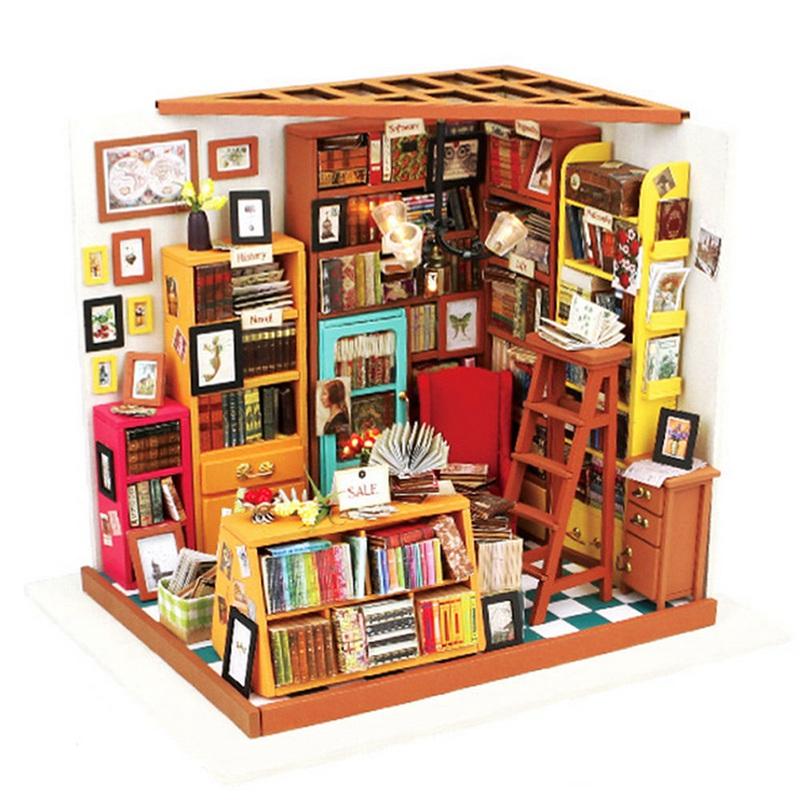 [해외]Cuteroom Handmake DIY 인형 집 도서 가게 인형 집 Miniature 3D LED 가구 키트 라이트 박스 어린이를최고의 선물/Cuteroom Handmake DIY Doll House The Book Shop Dollhouse Miniature