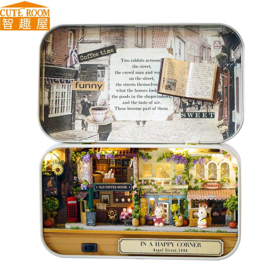 [해외]커트 룸 DIY 인형 집 미니어처 나무 인형 집 Miniaturas 가구 장난감 집 인형 장난감 크리스마스 선물 V4-V6/CUTE ROOM DIY Doll House Miniature Wooden Dollhouse Miniaturas Furniture Toy