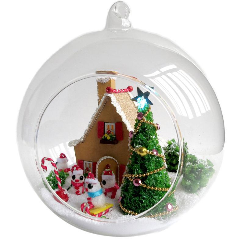 [해외]새 DIY 유리 볼 인형 하우스 모델 키트 가구 수제 나무 인형 집 조립 인형 집 장난감 크리스마스 키즈 선물/New Diy Glass Ball Doll House Model KitsFurniture Handmade Wooden Miniature Assembli