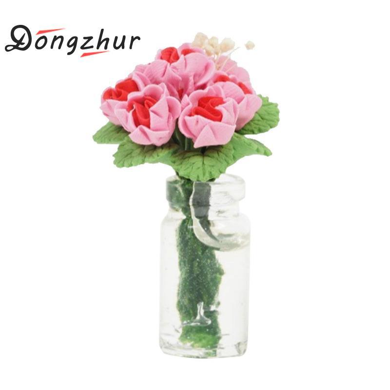 [해외]Dongzhur Dollhouse 가구 미니 귀여운 유리 병 꽃 로즈 별 DIY 침실 장면 인형 집 Miniatures 1:12 액세서리/Dongzhur Dollhouse Furniture Mini Cute Glass Bottle Flower Rose Stars