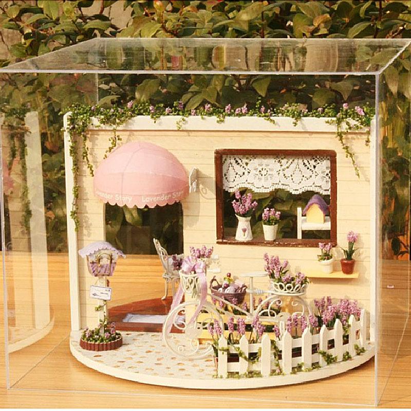 [해외]DIY Rorating 라벤더 목조 인형 집 Handmade Miniatura 조립 홈 장식 모델 빌딩 3D 라벤더 정원 Tearoom 장난감/DIY Rorating Lavender Wooden Dollhouse Handmade Miniatura Assemble